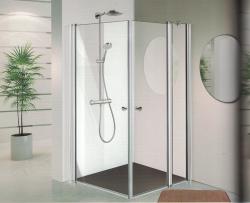 מקלחון פינתי מרובע קבוע ושתי דלתות (לפי מידה)