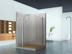 מקלחון פינתי שני קבועים ושתי דלתות (לפי מידה)