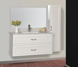 """ארון אמבטיה תלוי דגם שאנל מידה 90/100 ס""""מ כולל כיור"""