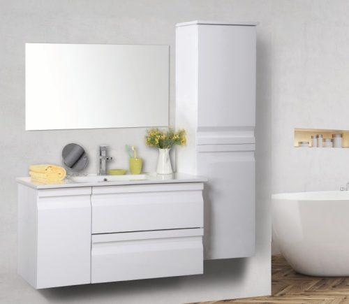 """ארון אמבטיה תלוי דגם מיקה 90 ס""""מ כולל כיור ומראה"""