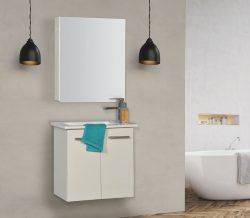 """ארון אמבטיה תלוי פורמייקה דגם פארן 56 ס""""מ כולל כיור"""
