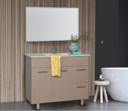 """ארון אמבטיה עומד פורמייקה דגם עידו 60 ס""""מ כולל כיור ומראה"""