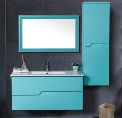 """ארון אמבטיה תלוי אפוקסי דגם אמזונס מידה 90-100 ס""""מ כולל כיור ומראה"""