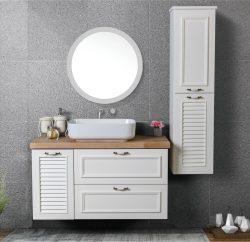"""ארון אמבטיה תלוי דגם אפולו מידה 90-100 ס""""מ כולל כיור ומראה"""