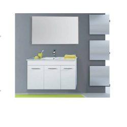 """ארון אמבטיה תלוי פורמייקה דגם רומא מידה 90 -100 ס""""מ כולל כיור ומראה"""