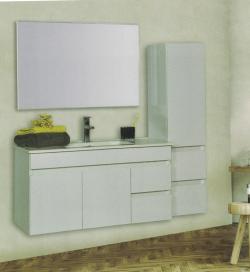 """ארון אמבטיה תלוי אפוקסי דגם שוהם מידה 90-100 ס""""מ כולל כיור ומראה"""