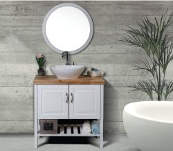 """ארון אמבטיה עומד דגם אריאל כולל כיור ומראה מידה 90-100 ס""""מ"""