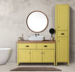 """ארון אמבטיה עומד דגם ברק כולל כיור ומראה מידה 100 ס""""מ"""