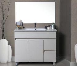 """ארון אמבטיה עומד פורמייקה דגם גיא 100-90 ס""""מ כולל כיור ומראה"""