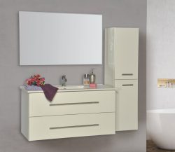 """ארון אמבטיה תלוי פורמייקה דגם גאן כולל כיור מידה 120 ס""""מ"""