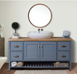 """ארון אמבטיה אפוקסי עומד דגם יהלי כולל כיור ומראה מידה 90-100 ס""""מ"""