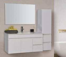 """ארון אמבטיה תלוי פורמייקה דגם שביט 60 ס""""מ כולל כיור ומראה"""