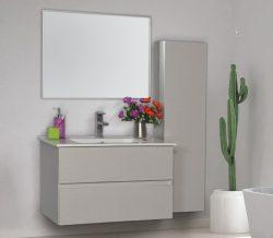 """ארון אמבטיה תלוי פורמייקה דגם גמלא 60 ס""""מ כולל כיור ומראה"""