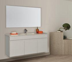 """ארון אמבטיה תלוי פורמייקה דגם אריאל 60 ס""""מ כולל כיור ומראה"""