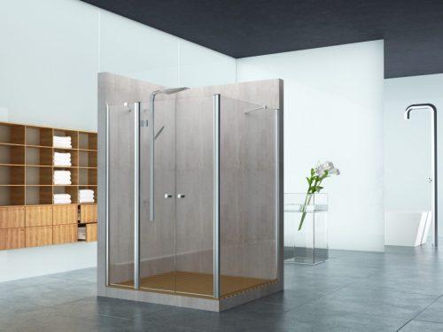מקלחון פינתי קבוע בצד וקבוע ושתי דלתות בחזית לפי מידה