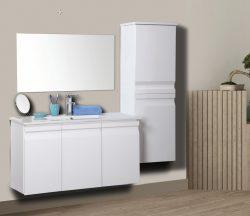"""ארון אמבטיה תלוי דגם עופרי מידה 90-100 ס""""מ כולל כיור ומראה"""