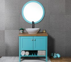 """ארון אמבטיה עומד אפוקסי דגם פטרה כולל כיור ומראה מידה 100 ס""""מ"""