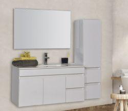 """ארון אמבטיה תלוי דגם שוהם 90-100 ס""""מ כולל כיור ומראה"""