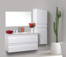 """ארון אמבטיה תלוי דגם דניאלה 100 ס""""מ כולל כיור ומראה"""