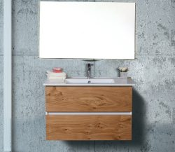 """ארון אמבטיה תלוי דגם לביא מידה 90-100 ס""""מ כולל כיור ומראה"""