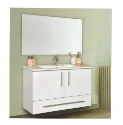 """ארון אמבטיה תלוי פורמייקה דגם יובל מידה 90-100 ס""""מ כולל כיור ומראה"""