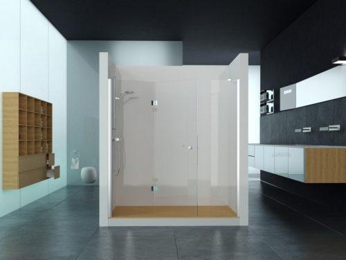 מקלחון חזית קבוע בצד ודלת הרמוניקה