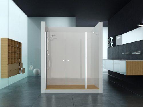 מקלחון חזית קבוע בצד ושתי דלתות