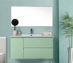 """ארון אמבטיה תלוי דגם איתמר מידה 90-100 ס""""מ כולל כיור ומראה"""