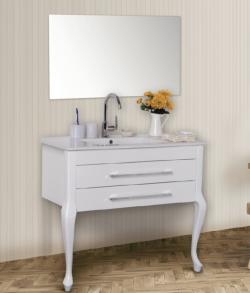 """ארון אמבטיה עומד דגם מונה כולל כיור ומראה מידה 90-100 ס""""מ"""
