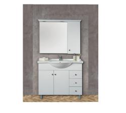 """ארון אמבטיה עומד פורמייקה דגם יוגב כולל כיור ומראה מידה 85 ס""""מ"""