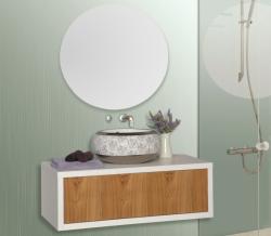 """ארון אמבטיה תלוי דגם כרמל מידה 75/80 ס""""מ כולל כיור"""