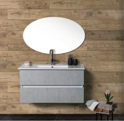 """ארון אמבטיה תלוי פורמייקה דגם זיו כולל כיור מידה 90-100 ס""""מ"""