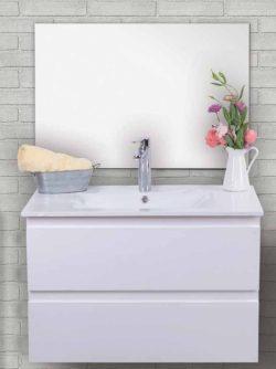 """ארון אמבטיה תלוי דגם אוסקר מידה 90-100 ס""""מ כולל כיור ומראה"""