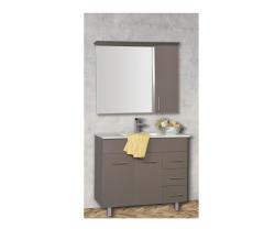 """ארון אמבטיה עומד פורמייקה דגם גולן פלוס כולל כיור ומראה 100 ס""""מ"""