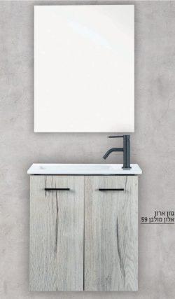 """ארון אמבטיה תלוי פורמייקה דגם אלון 50 ס""""מ כולל כיור ומראה"""