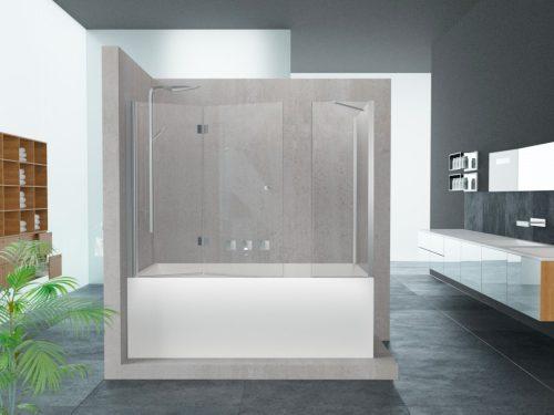 אמבטיון דופן צד קבוע וחזית קבוע ודלת הרמוניקה לפי מידה