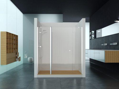 מקלחון חזית שני קבועים בצדדים ודלת לפי מידה