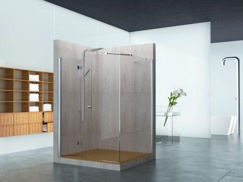מקלחון פינתי קבוע בצד ובחזית קבוע ודלת הרמוניקה