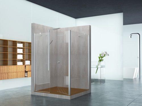 מקלחון פינתי קבוע בצד ובחזית קבוע ודלת לפי מידה