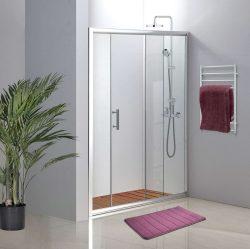 מקלחון חזית קבוע ודלת הזזה 100-105 פסים / שקוף