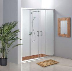מקלחון חזית 2 קבועים ו 2 דלתות הזזה 135-140 שקוף / פסים