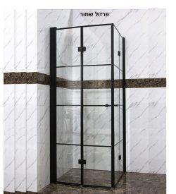מקלחון פינתי מרובע הרמוניקה מתקפל 77-78.5 פסים פרזול שחור