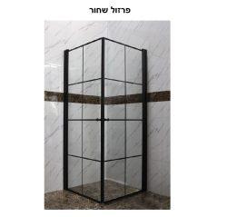 מקלחון פינתי מרובע שתי דלתות 77-78.5 פסים פרזול שחור