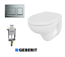 אסלה תלויה ומושב +מיכל הדחה סמוי GEBERIT לקיר בטון/בלוק +לחצן הפעלה GEBERIT
