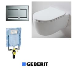 אסלה תלויה עם מושב הידראולי נשלף +לחצן GEBERIT דו כמותי +מיכל הדחה סמוי GEBERIT לקיר בלוק/בטון