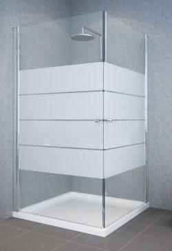 מקלחון פינתי מרובע שתי דלתות 77-78.5 דגם 4 פסים רחבים