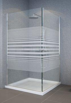 מקלחון פינתי מרובע שתי דלתות 77-78.5 דגם פסים