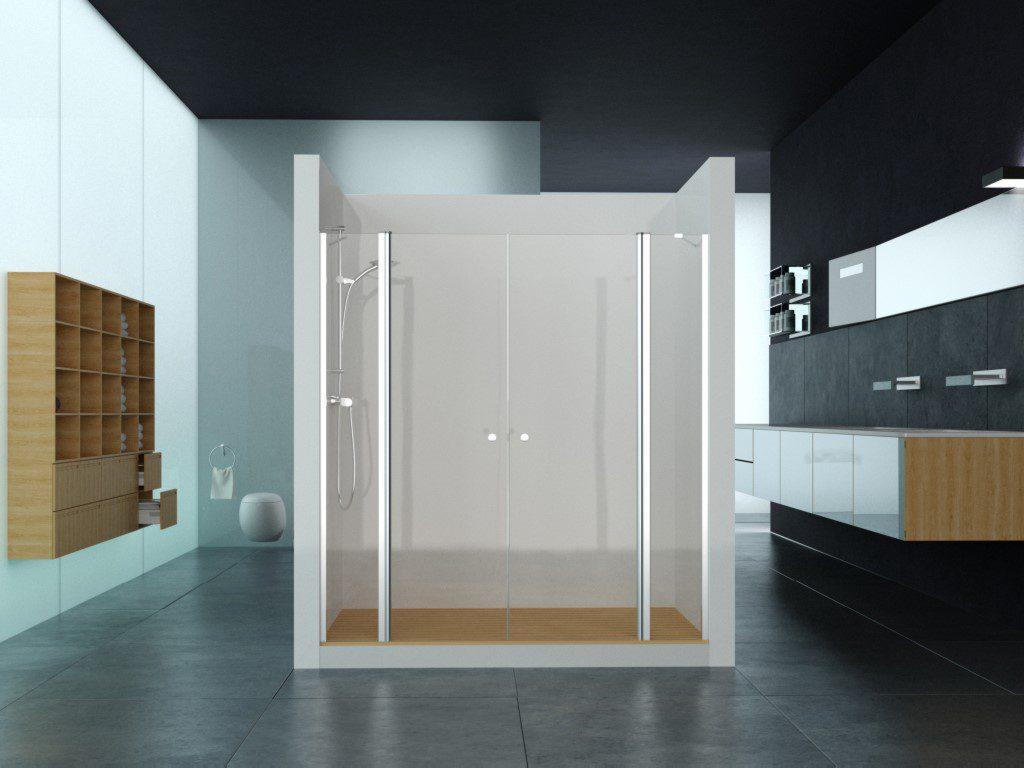 אמבטיון דופן צד + שני קבועים ושתי דלתות (לפי מידה)
