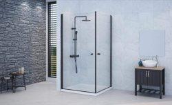 מקלחון פינתי שתי דלתות ציר SELAQUA OUT/IN פרזול שחור