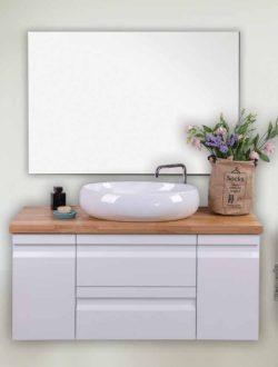 ארון אמבטיה אפוקסי תלוי דגם יוגב בוצ'ר כולל כיור ומראה